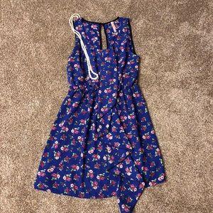 Solemio blue sleeveless ruffle dress Size S